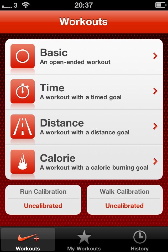Main Nike Plus App Screen